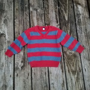 Boys Gap grey and red striped thick knit sweater